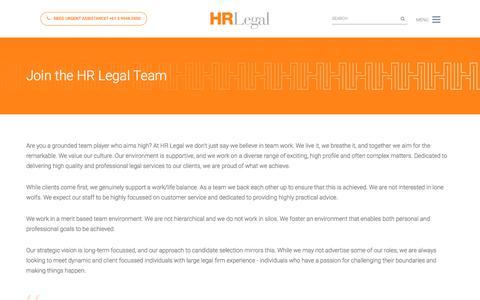 Screenshot of Jobs Page hrlegal.com.au - Careers Archive | HR Legal - captured July 15, 2018