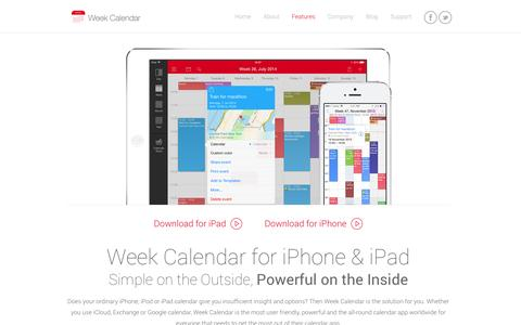 Screenshot of Home Page weekcal.com - Week Calendar - Easy and powerful calendar management app for iPhone - captured Sept. 19, 2014