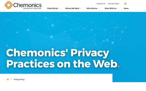 Screenshot of Privacy Page chemonics.com - Privacy Policy - Chemonics International - captured Nov. 6, 2017