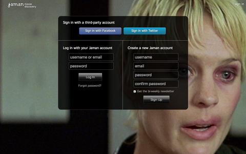 Screenshot of Login Page jaman.com - Sign In - Jaman Movie Discovery - captured Dec. 28, 2015