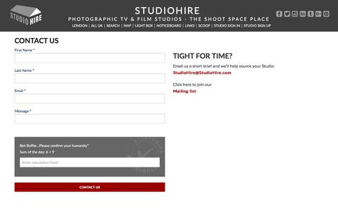 Screenshot of Contact Page studiohire.com - STUDIOHIRE - Contact Us - captured July 9, 2018