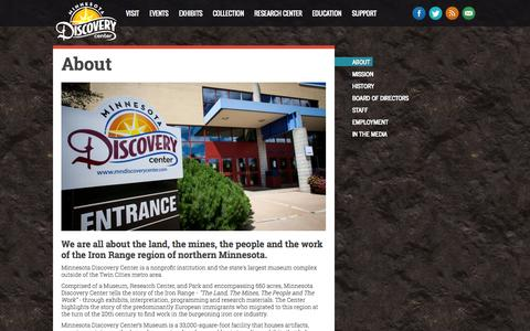 Screenshot of About Page mndiscoverycenter.com - About - Minnesota Discovery Center: The Museum of the Iron Range - captured Oct. 7, 2014