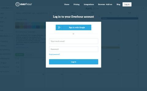Screenshot of Login Page everhour.com - Everhour: Measure your tasks - captured Sept. 19, 2014