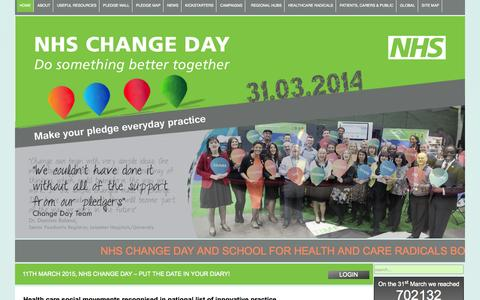 Screenshot of Home Page changeday.nhs.uk - NHS Change Day - Home - captured Oct. 8, 2014