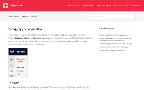 Screenshot of Support Page twilio.com - Debugging your application – Twilio Support - captured June 13, 2019