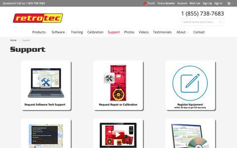 Screenshot of Support Page retrotec.com - Blower Door & Air Duct Testing Support | Retrotec Support - captured Oct. 18, 2018
