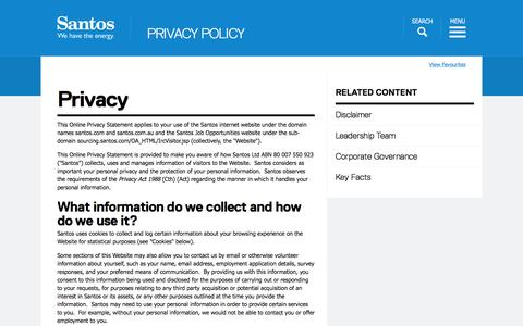 Screenshot of Privacy Page santos.com - Santos - We have the energy - Privacy Policy - captured Feb. 2, 2016