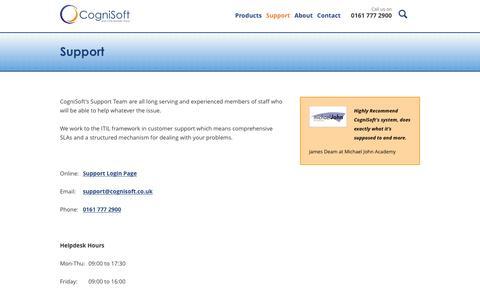 Screenshot of Support Page cognisoft.co.uk - CogniSoft :: Support - captured Dec. 10, 2015