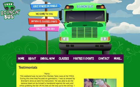 Screenshot of Testimonials Page bouncinbus.com - Testimonials - Bouncin' Bus LLC - captured Nov. 23, 2016