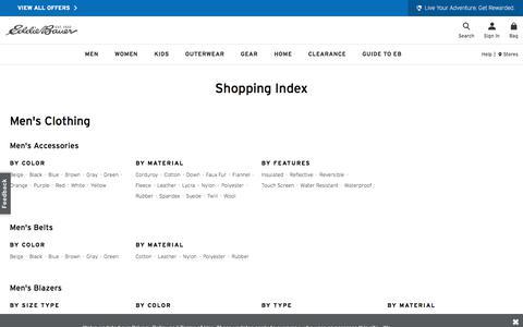 Screenshot of Site Map Page eddiebauer.com - Shopping Index | Eddie Bauer - captured Feb. 17, 2020