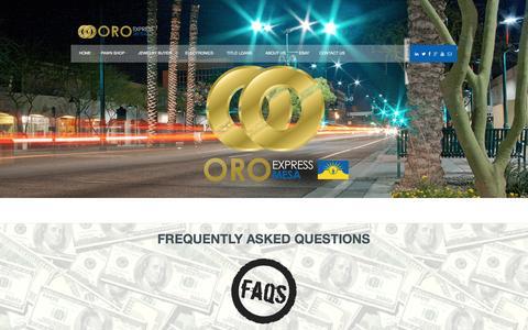 Screenshot of FAQ Page oemesapawnshop.com - Pawn Shop FAQs | Mesa | Gilbert | Tempe | Chandler - captured Nov. 5, 2014