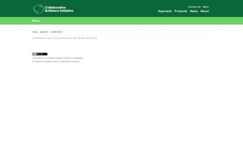 Screenshot of Menu Page csinitiative.com - Collaborative Software Initiative - captured Sept. 13, 2014