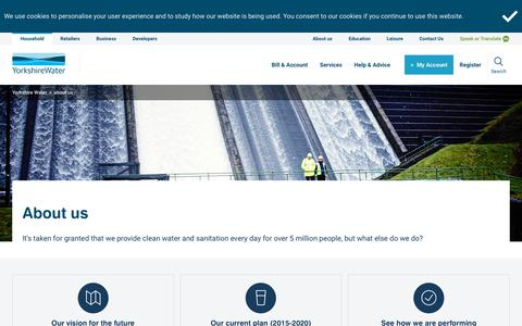 Screenshot of About Page yorkshirewater.com captured Oct. 20, 2019