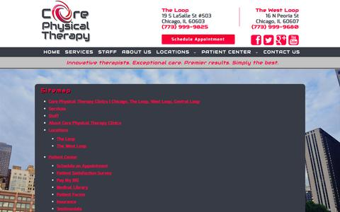 Screenshot of Site Map Page coreptclinics.com - Core Physical Therapy - captured Nov. 2, 2014
