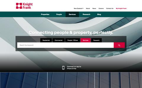 Screenshot of Services Page knightfrank.co.nz - Property Research | New Zealand | Knight Frank - captured Oct. 15, 2018