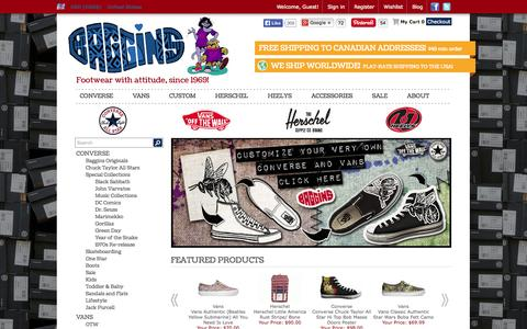 Screenshot of Home Page bagginsshoes.com - Converse Shoes | Vans Shoes | Herschel Backpacks and Bags | Free Shipping | Buy Online - captured Sept. 22, 2014