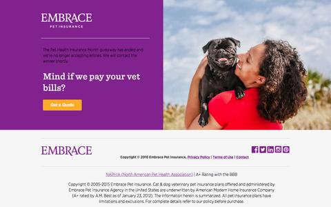 Screenshot of Landing Page embracepetinsurance.com - Embrace's $1,000 Pet Health Insurance Month Giveaway - captured April 13, 2017