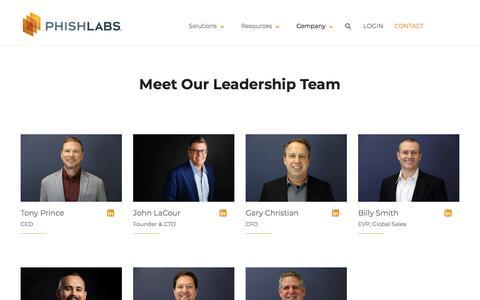 Screenshot of Team Page phishlabs.com - Leadership   PhishLabs - captured Oct. 3, 2019