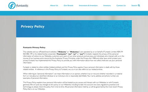 Screenshot of Privacy Page funtastic.com.au - Privacy Policy - Funtastic Limited - captured Feb. 10, 2016