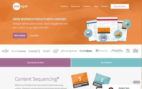 Screenshot of Home Page onespot.com - Content Marketing Software | OneSpot - captured Dec. 4, 2015