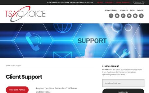 Screenshot of Support Page tsachoice.com - Client Support | TSAChoice - captured Oct. 26, 2017