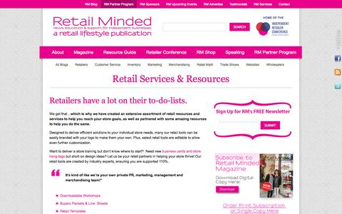Screenshot of Services Page retailminded.com - Retail Services & Resources  ‹ Retail Minded - captured Sept. 19, 2014