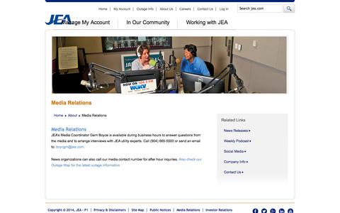 Screenshot of Press Page jea.com - Media Relations | About | JEA - captured Oct. 30, 2014