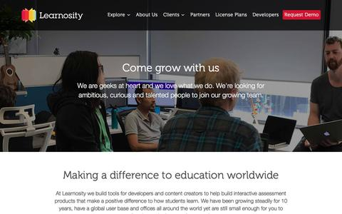 Screenshot of Jobs Page learnosity.com - Find Your New Career   Learnosity - captured July 17, 2018