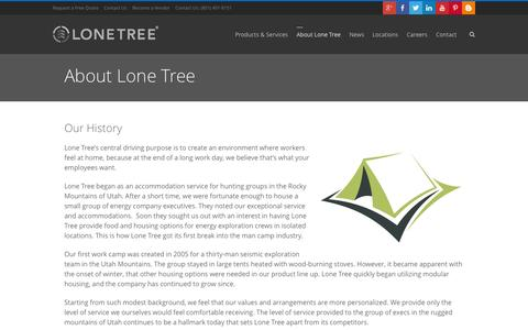 Screenshot of About Page lonetreeusa.com - About Lone Tree   Man Camps and Temporary Housing - captured Sept. 30, 2014