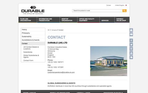 Screenshot of Contact Page durable-uk.com - Contact - DURABLE - captured Oct. 11, 2017