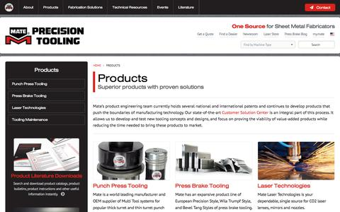 Screenshot of Products Page mate.com - Products: Press Brake, Punch Press Tooling, Laser Technologies - captured Nov. 27, 2016
