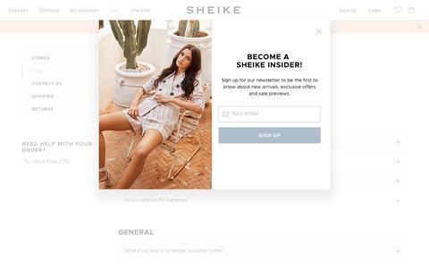 Screenshot of FAQ Page sheike.com.au - FAQ - captured Sept. 22, 2018
