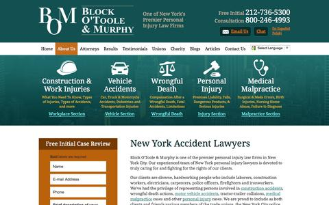 Screenshot of About Page blockotoole.com - New York Accident Attorney   Block O'Toole & Murphy NYC - captured Nov. 3, 2014