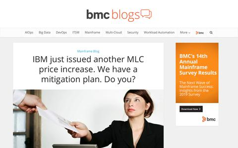 Screenshot of Pricing Page bmc.com - IBM just issued another MLC price increase. We have a mitigation plan. Do you? – BMC Blogs - captured Dec. 14, 2019