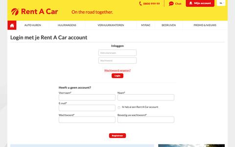 Screenshot of Login Page rentacar.be - Rent a Car - Login - captured Jan. 27, 2016