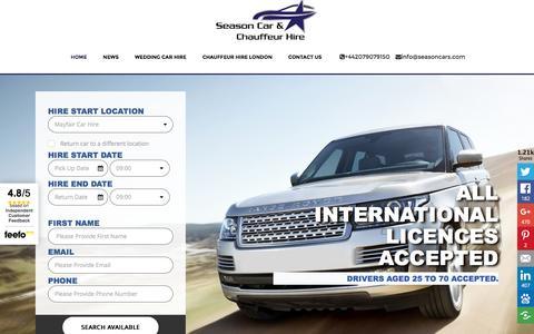 Screenshot of Home Page seasoncars.com - Luxury Car Hire, Bentley, Mercedes, Range Rover, Prestige Car Hire - captured Dec. 1, 2016