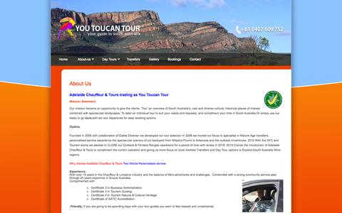 Screenshot of About Page youtoucantour.com.au - About Us - captured Oct. 1, 2014