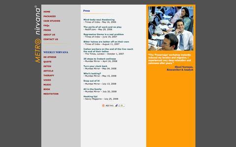 Screenshot of Press Page metronirvana.com - Metro Nirvana- Holistic Wellness Solutions - captured Oct. 27, 2014