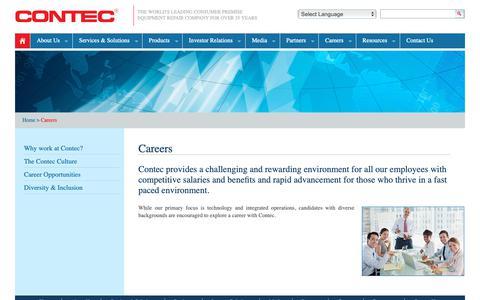 Screenshot of Jobs Page gocontec.com - Contec - captured Sept. 29, 2018