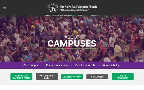 Screenshot of Locations Page myspbc.org - Saint Paul's Baptist Church - Campuses - captured Oct. 2, 2018