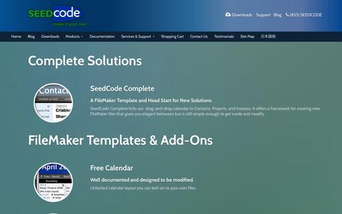 Screenshot of Products Page seedcode.com - All FileMaker Templates & Extensions - SeedCode - captured Oct. 27, 2014