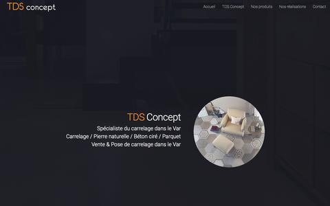 Screenshot of Home Page tds-concept.com - TDS Concept - Vente et pose carrelage Bormes les Mimosas Var - Carrelage - captured Oct. 22, 2018