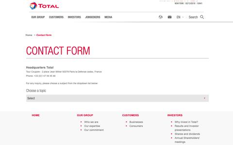 Screenshot of Contact Page total.com - Contact form | total.com - captured Feb. 13, 2019