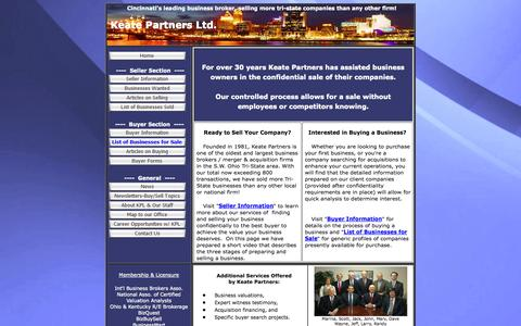 Screenshot of keatepartners.com - Keate Partners has sold more Greater Cincinnati businesses than any other  firm; we will sell your business, or help you find a Cincinnati business to buy;  our site has information for business sellers; business buyers; sell my  business; sell my co - captured Oct. 11, 2014