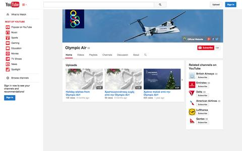 Screenshot of YouTube Page youtube.com - Olympic Air  - YouTube - captured Oct. 25, 2014