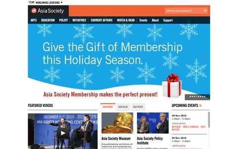 Screenshot of Home Page asiasociety.org captured Dec. 4, 2015