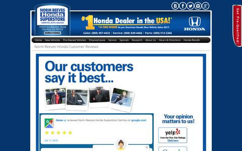 Screenshot of Testimonials Page normreeveshondacerritos.com - Norm Reeves Honda Customer Reviews - captured Oct. 19, 2018