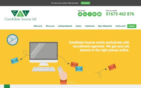 Screenshot of Home Page candidatesource.uk.com - Online Job Advertising | Candidate Attraction - captured Oct. 20, 2016
