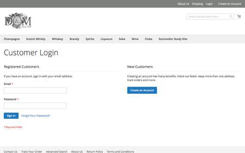 Screenshot of Login Page dandm.com - Customer Login - captured July 6, 2017