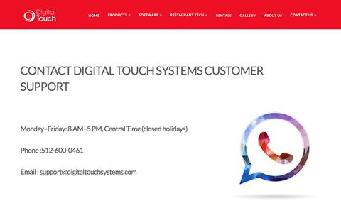 Screenshot of Support Page digitaltouchsystems.com - Support - Digital Touch Systems - captured Oct. 12, 2017